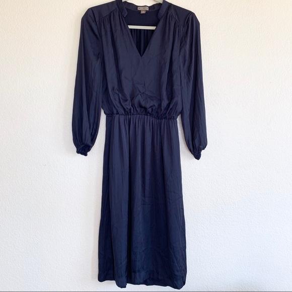 J. Crew Dresses & Skirts - Point Sur J. Crew Navy Satin Long Sleeve Dress